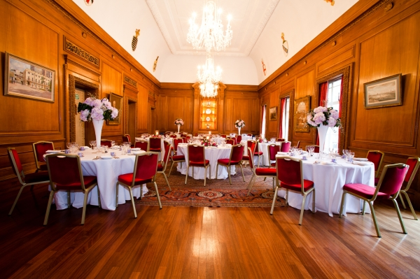 The Livery Hall set with round tables