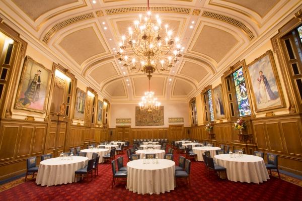 Round table set up in the Livery Hall
